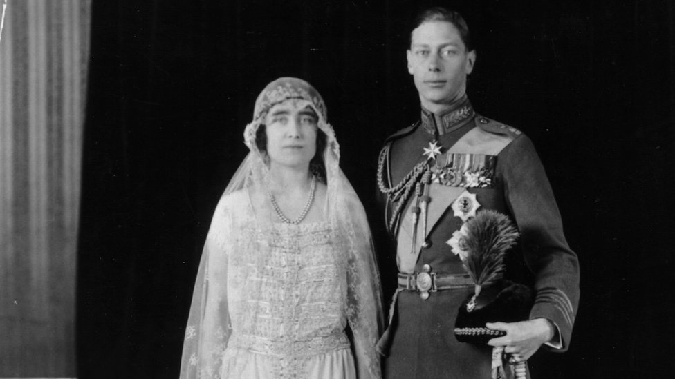 The Duke of York and Lady Elizabeth Bowes Lyon on their wedding day in 1923