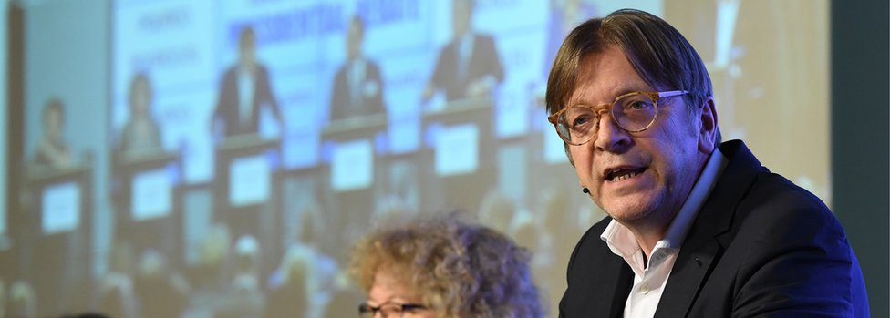 The European Parliament's Brexit coordinator Guy Verhofstadt (file pic)