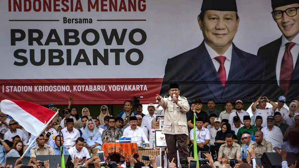 Opposition presidential candidate General Prabowo at a rally