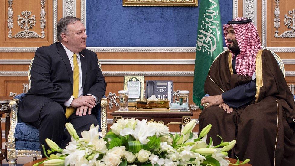 Mike Pompeo speaking to Saudi Crown Prince Mohammad Bin Salman