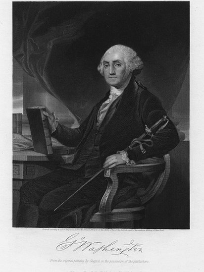 Retrato de George Washington sosteniendo un libro.