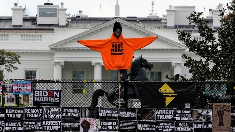 Carteles frente a la Casa Blanca.