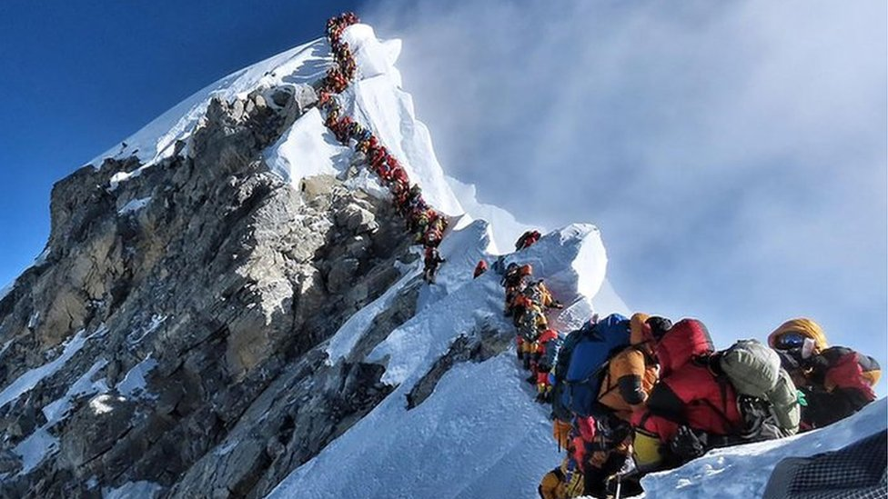 A long queue of climbers leading to the Everest peak
