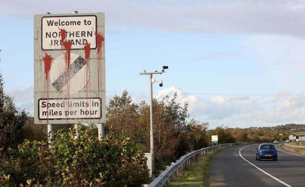 A sign on the Irish border that reads: Welcome to Northern Ireland
