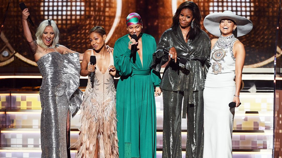 Lady Gaga, Jada Pinkett Smith, Alicia Keys, Michelle Obama y Jennifer Lopez