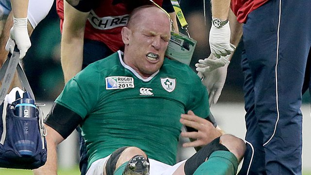 Paul O'Connell is in obvious pain after being injured in Sunday's World Cup game against France