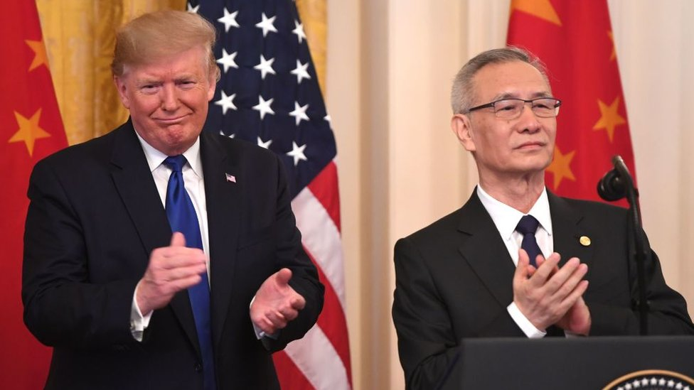 特朗普和劉鶴在白宮東廳出席簽署儀式(15/1/2020)