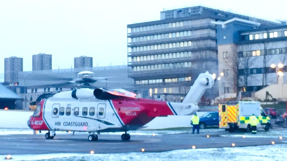 Coastguard helicopter in Aberdeen