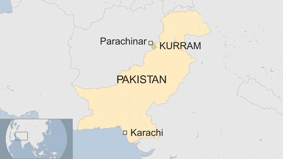 A map of Pakistan, showing Parachinar and the Kurram region in the north, and Karachi in the south