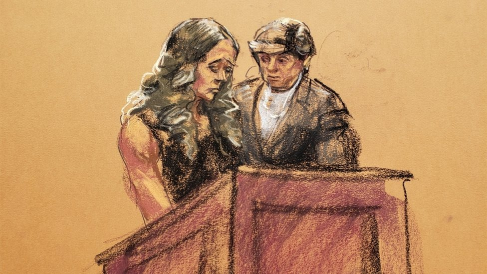 Ilustración de la comparecencia de Chauntae Davies para hablar sobre Jeffrey Epstein