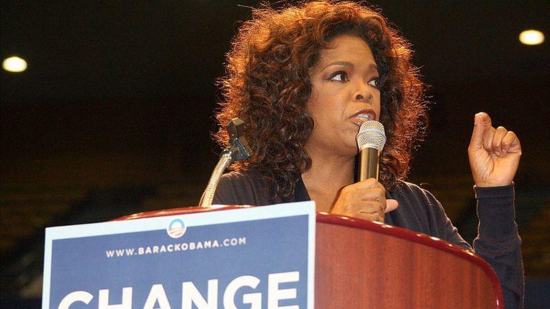 يُعتقد أن دعم أوبرا وينفري كان وراء تقدم أوباما في الانتخابات التمهيدية للحزب الديمقراطي عام 2008