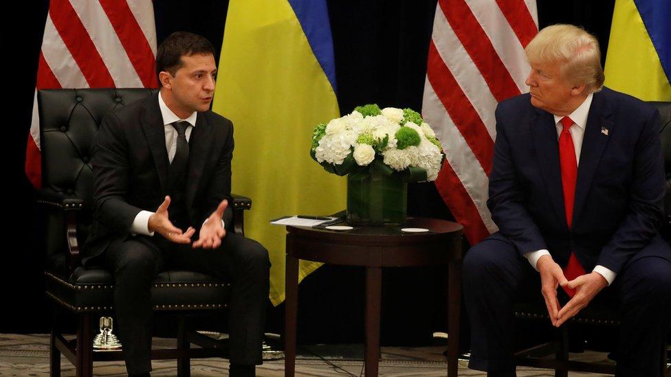 El presidente de Ucrania, Volodimir Zelensky con Donald Trump en Nueva York.
