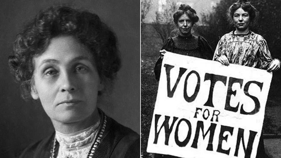 Composite image of Emmeline Pankhurst and of Annie Kenney and Christabel Pankhurst holding up the Votes for Women sign