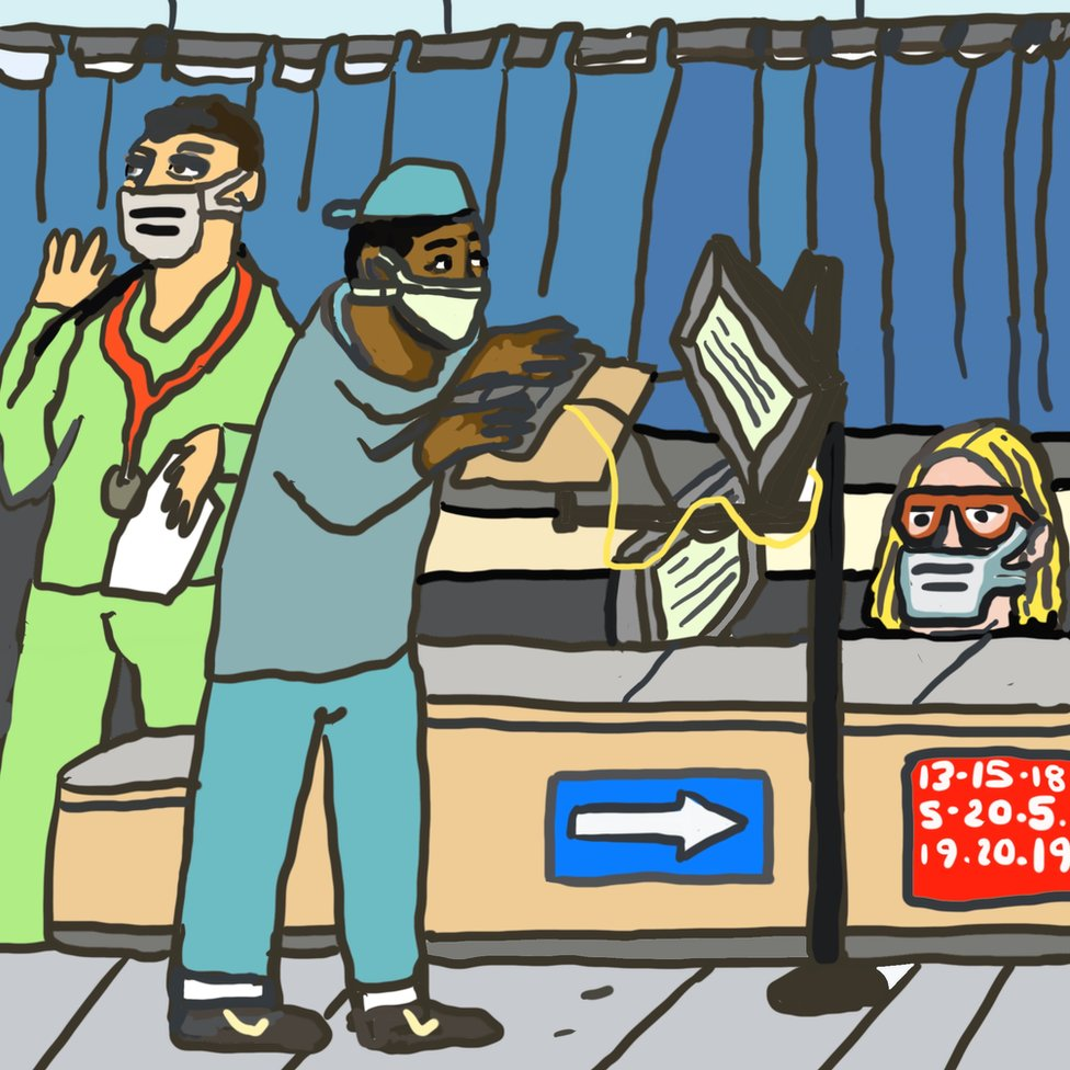 A drawing of a hospital visit