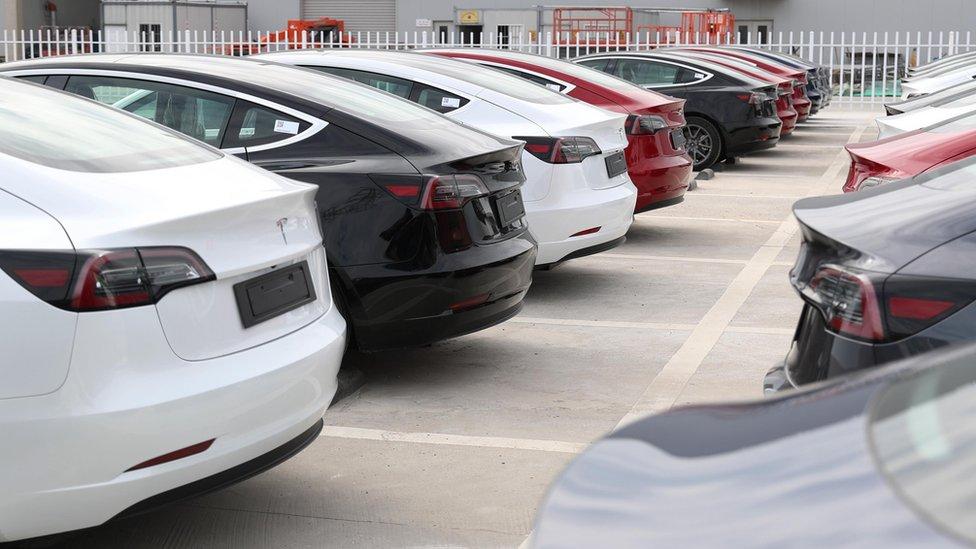 Tesla Model 3 cars in Shanghai