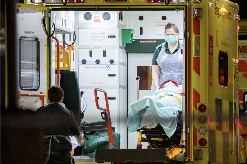 Ambulance with a patient in London