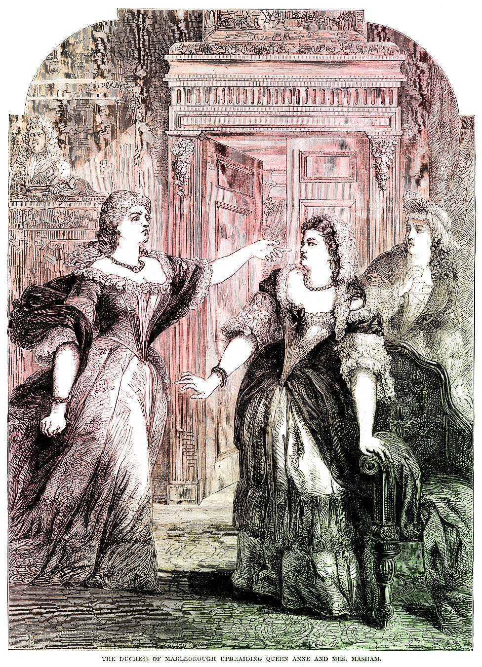 La duquesa de Marlborough reprendiendo a la reina Ana y a Abigail Masham en una ilustración de 1753.