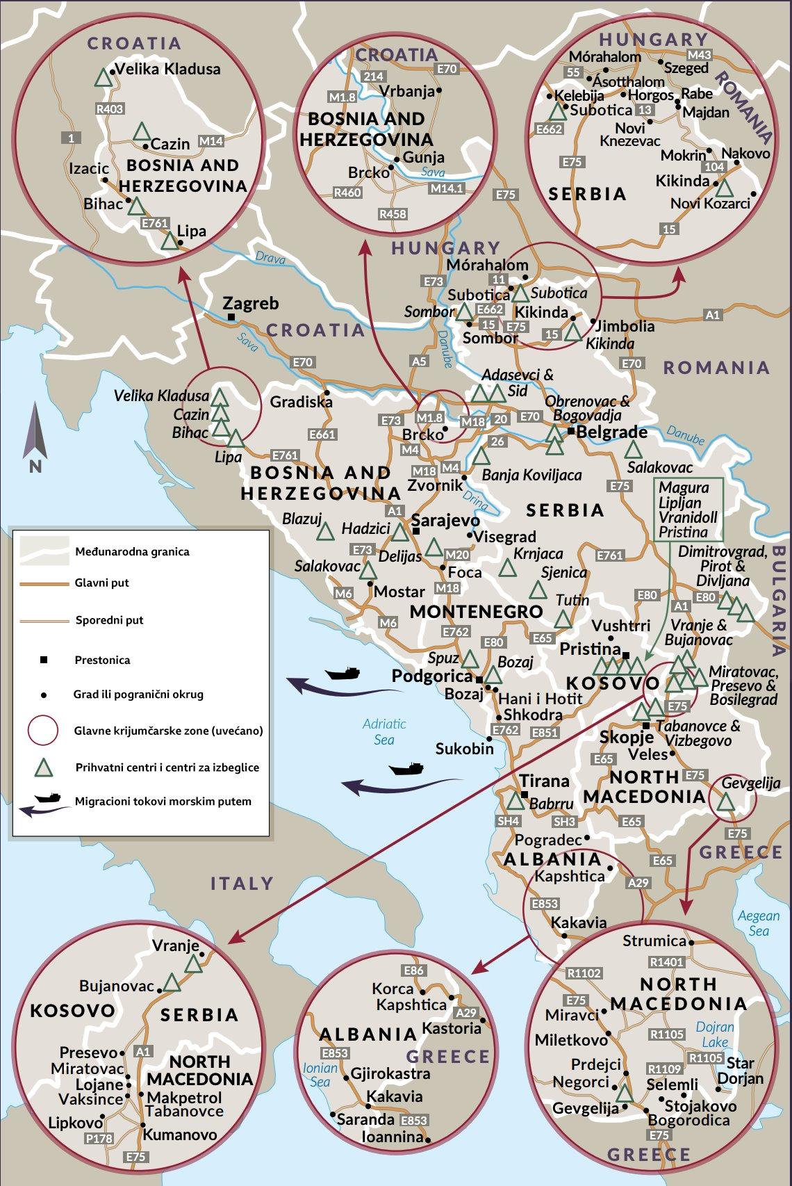 mapa žarišta migracija i krijumčarenja izveštaj Globalne inicijative protiv transnacionalnog organizovanog kriminala