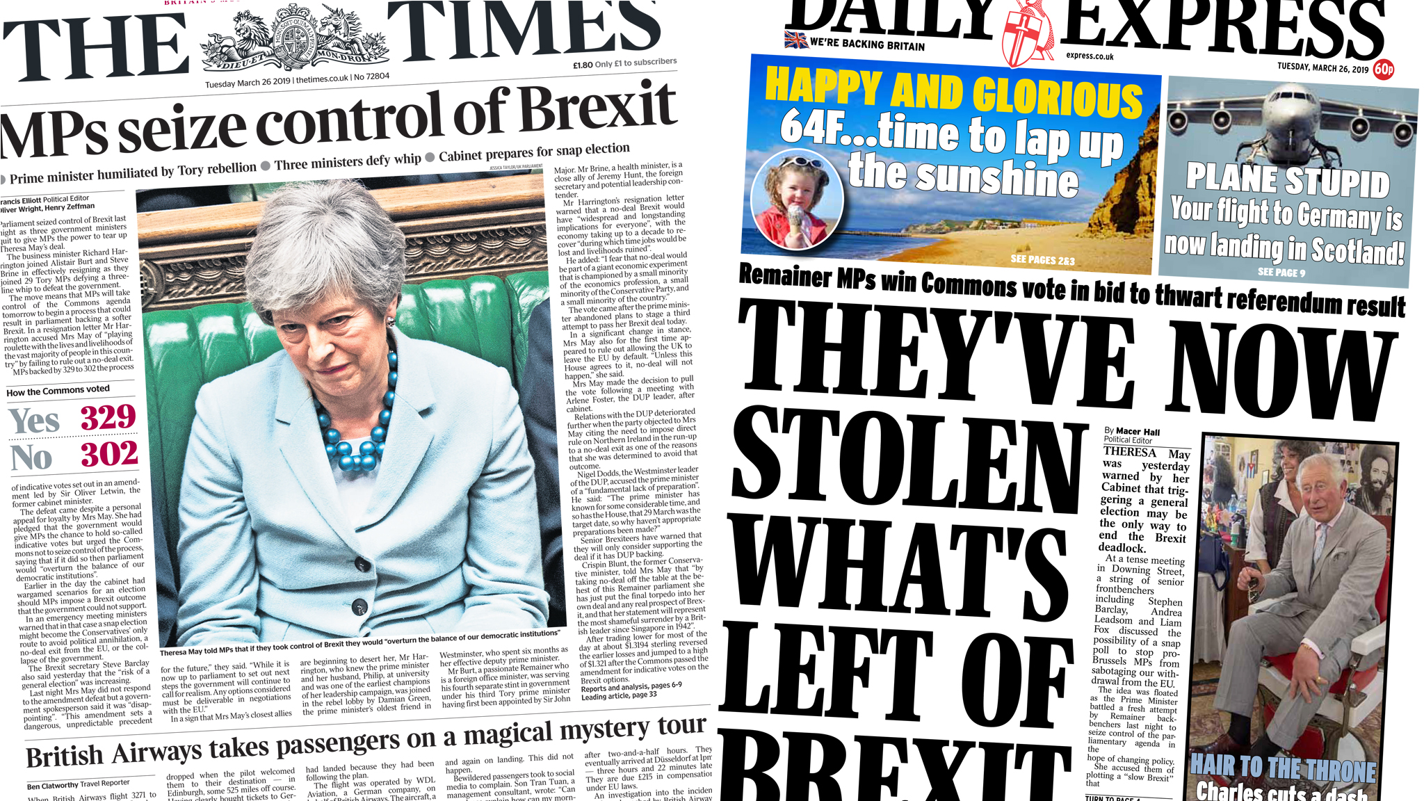 The Papers: MPs 'seize control of Brexit'