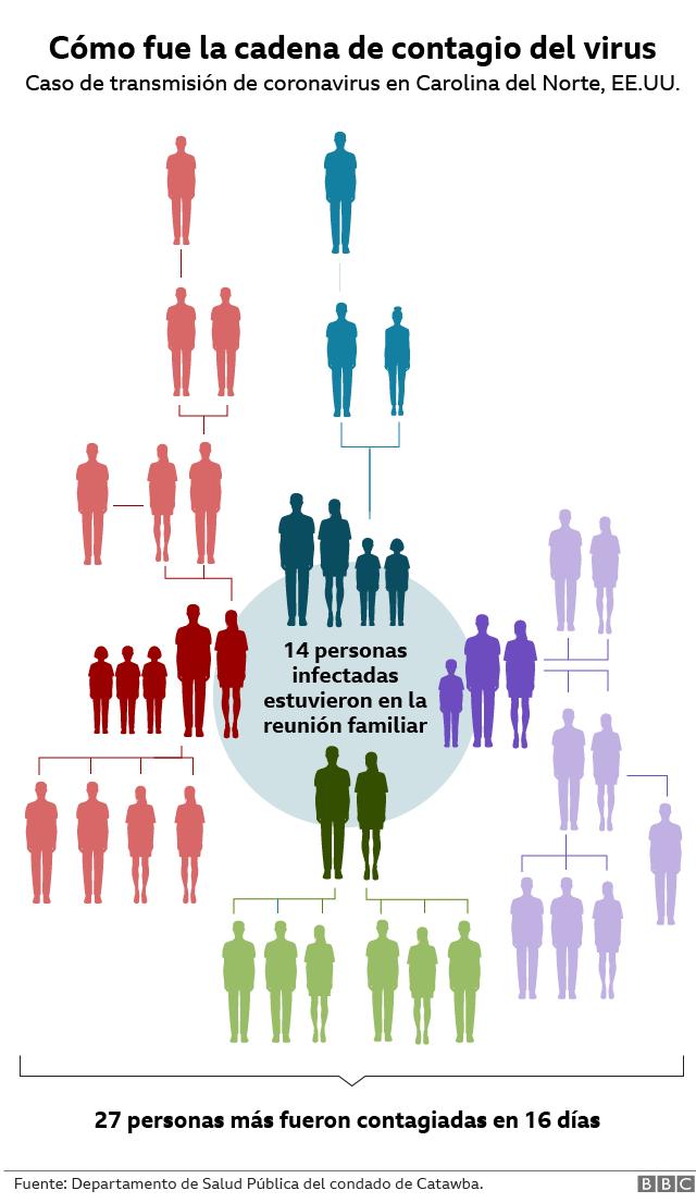 Visualización de la cadena de transmisión del virus en un caso testigo.