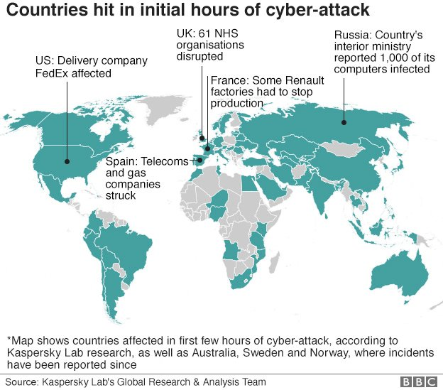 Map of areas hit by the cyber attack
