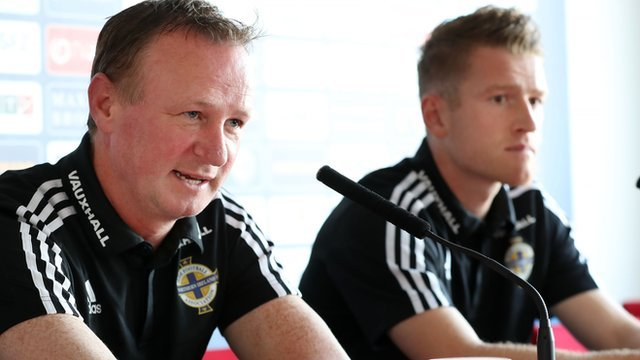 NI manager Michael O'Neill and captain Steven Davis at Friday's press conference in Trnava