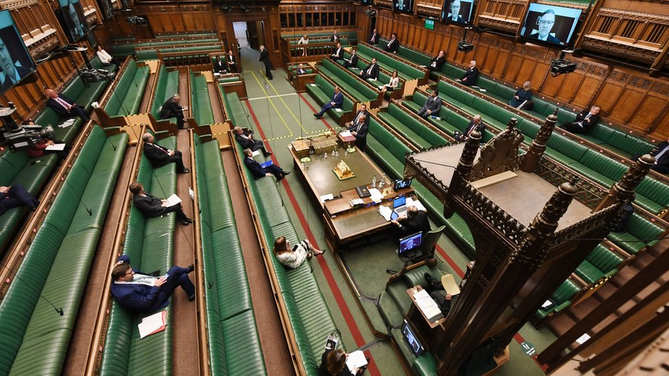 A sparse-looking House of Commons chamber