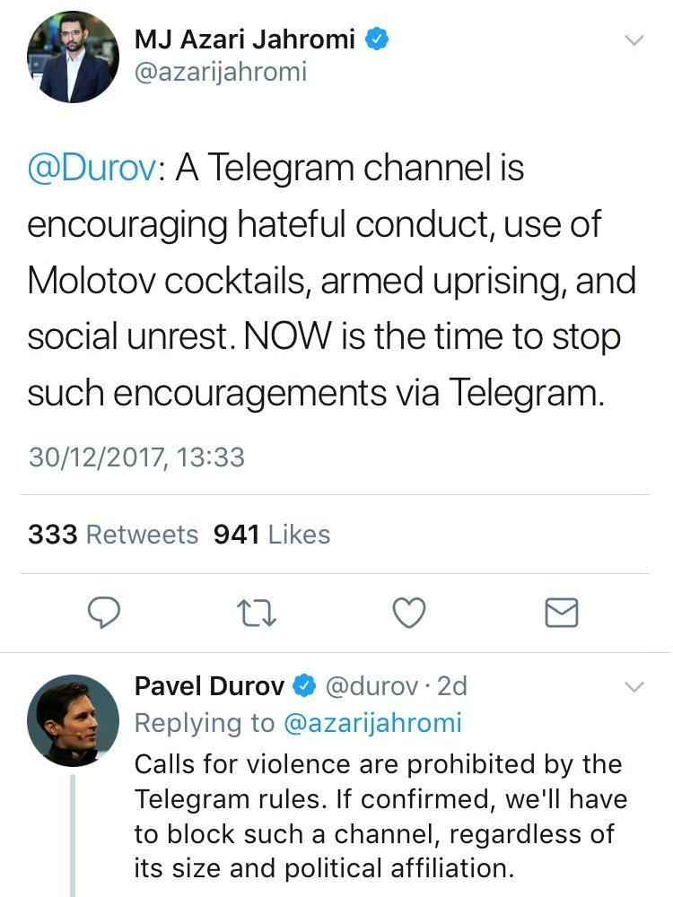 Pavel Durov responds to MK Azari Jahromi on Twitter.