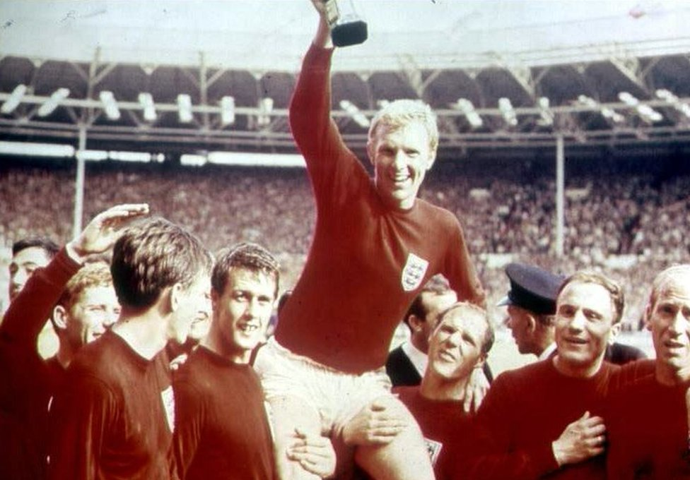 Bobby Moore, the England national football team Captain, being held aloft by his team mates after England had won the Jules Rimet trophy at the 1966 World Cup Final on 30 July, 1966