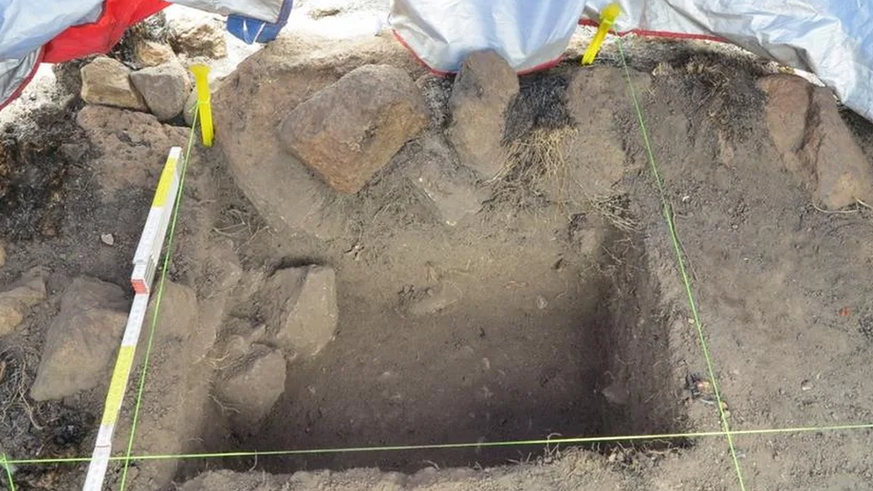 The archaeologists found gardening tools as well as retaining walls at the site