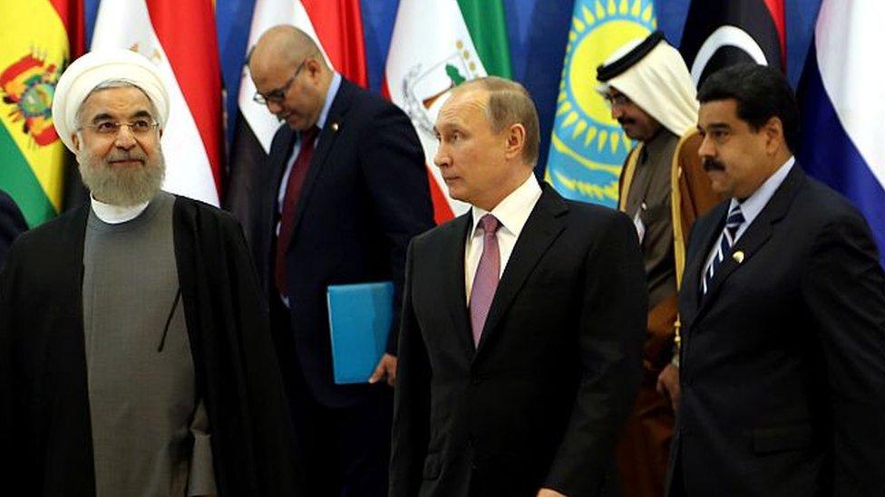 Hassan Rouhani, Vladimir Putin y Nicolás Maduro comparten intereses estratégicos en el sector de hidrocarburos.