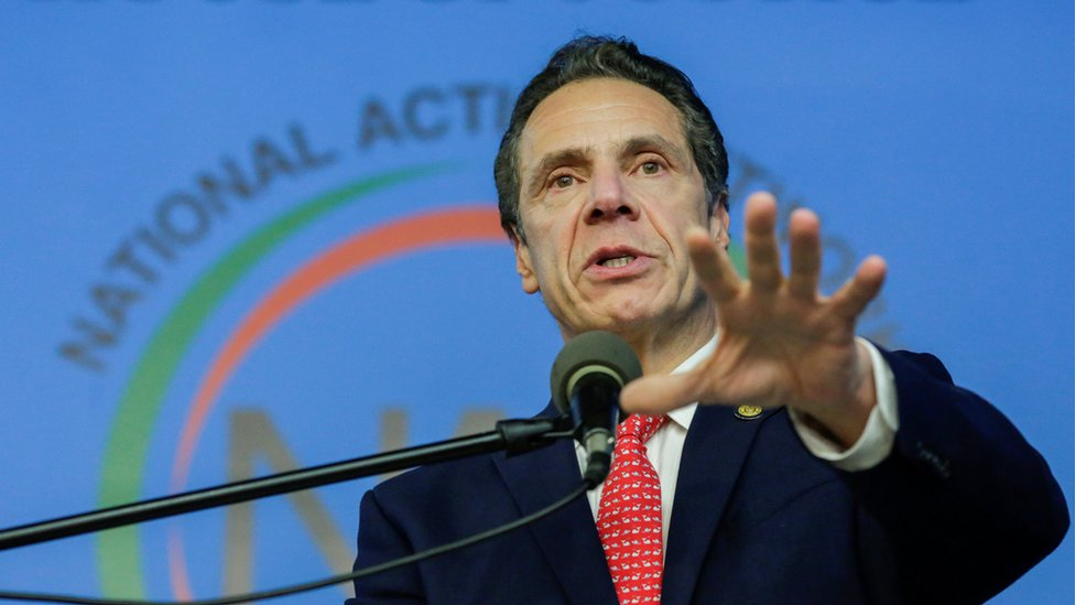 New York Governor Andrew Cuomo in Harlem, New York City, on 15 January 2018