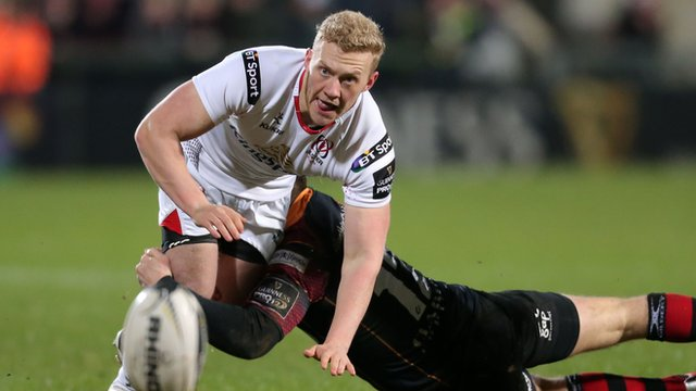 Stuart Olding in action for Ulster against the Dragons on Friday before having to come off following a heavy collision