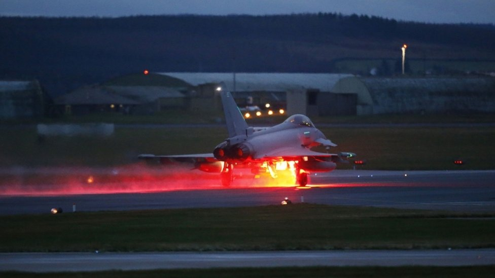 RAF Typhoon taking off from Lossiemouth