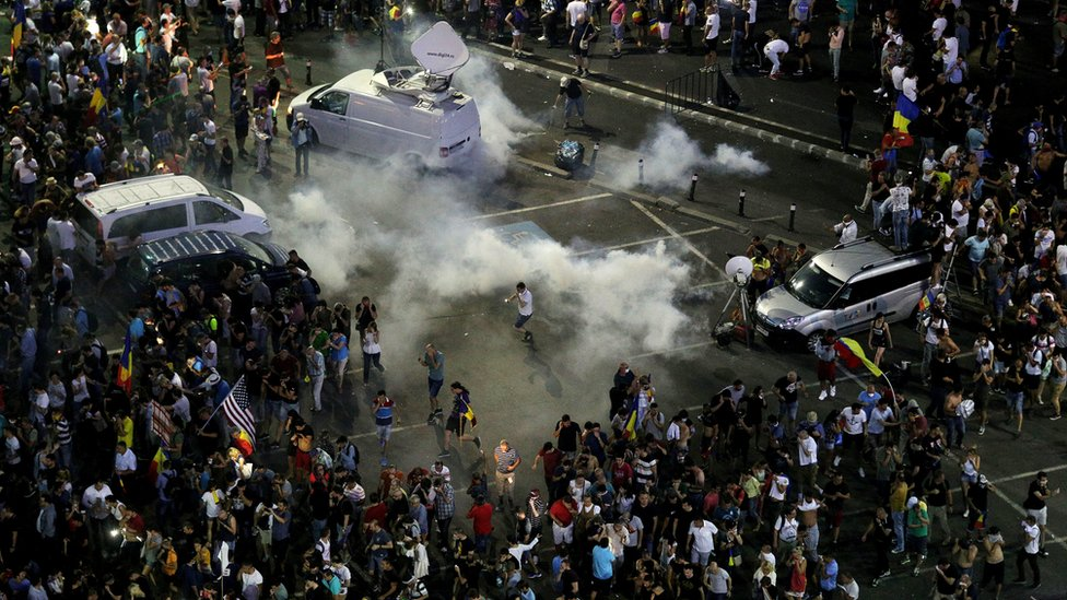 Teargas fired against protesters