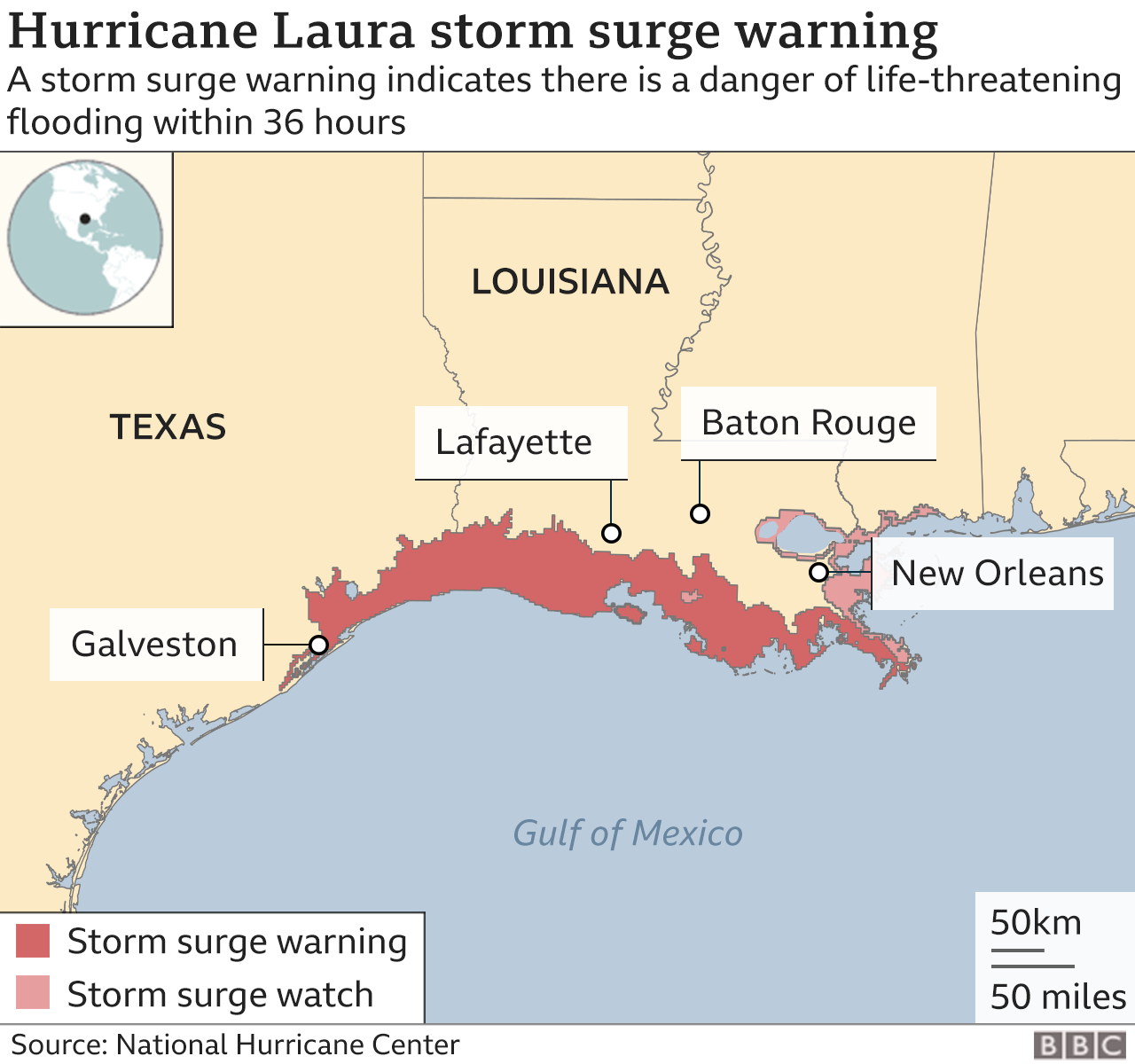 Map showing expected storm surge