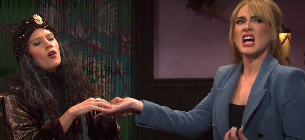 Adele and Kate McKinnon in a sketch on Saturday Night Live