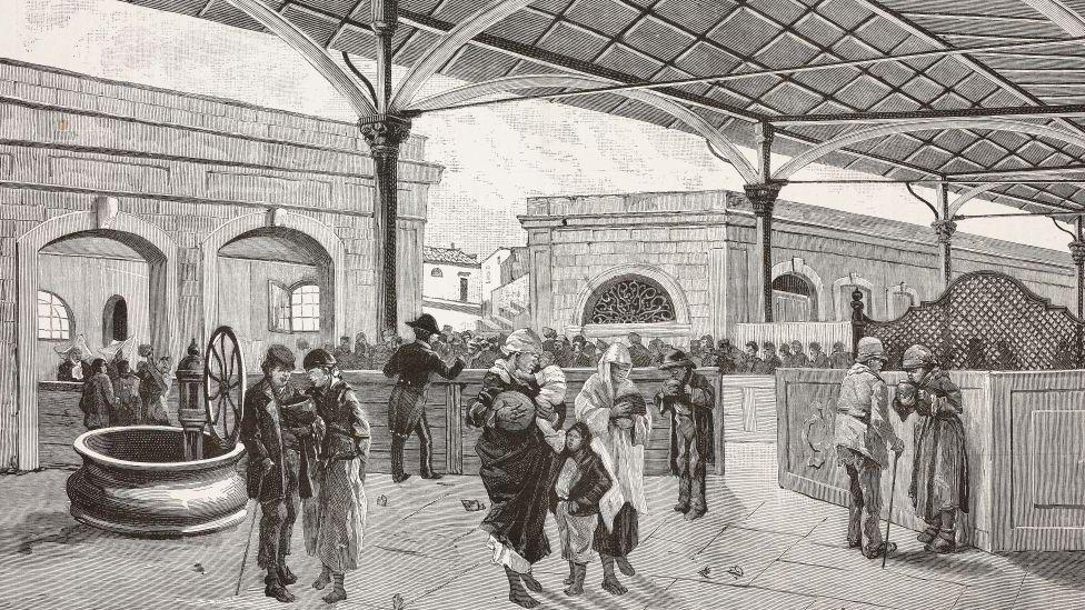 Grabado de un mercado durante la epidemia de cólera en Italia.