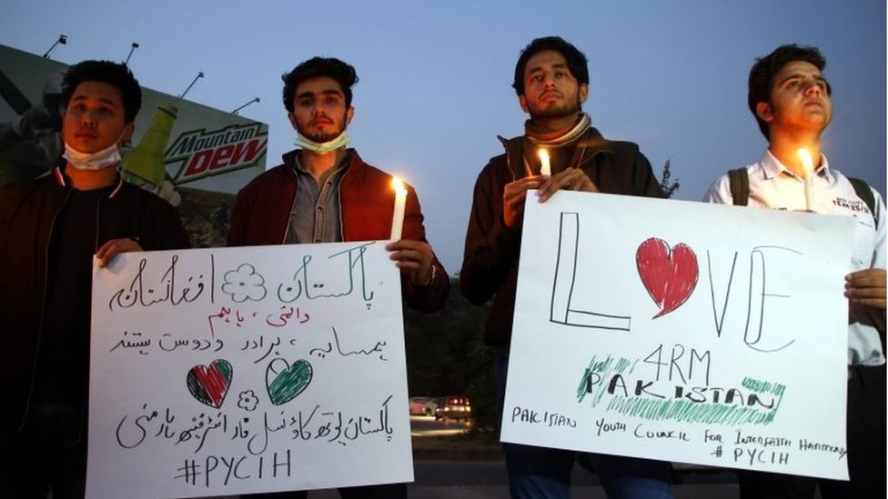 Members of Pakistan youth council for interfaith harmony hold a candle light vigil for the victims of the attack at Kabul University in Islamabad, Pakistan, 04 November 2020.