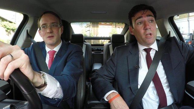 Chris Mason and Andy Burnham in car