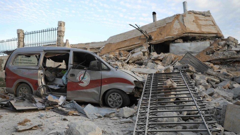 مستشفى مهدم في إدلب