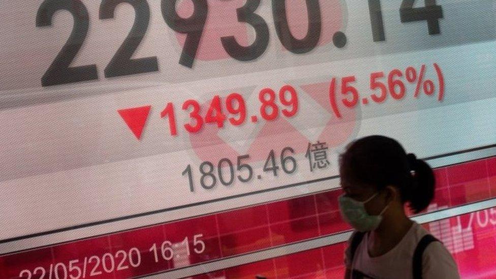 中國人大提議審議香港《國安法》,引發香港恆生指數大幅下跌