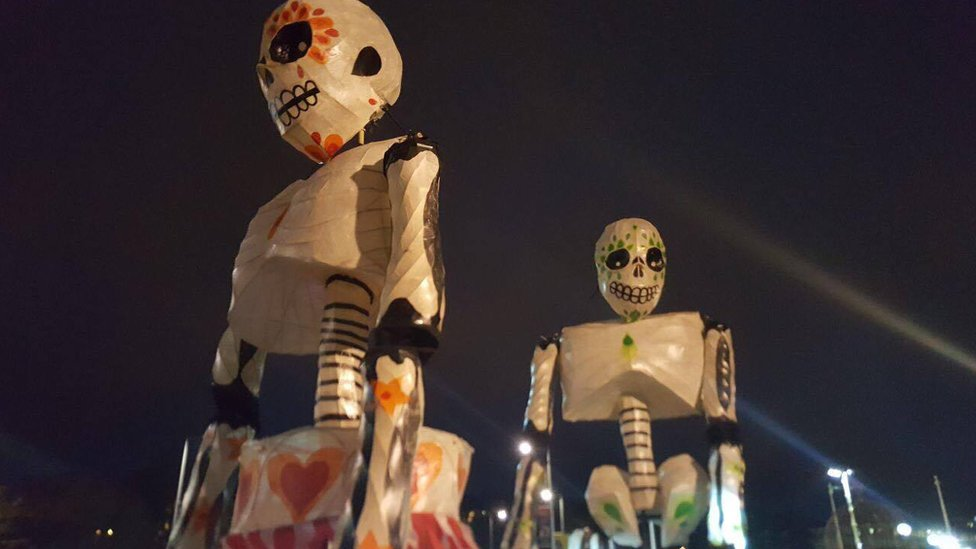 Skeletal figures at the Londonderry Halloween carnival parade