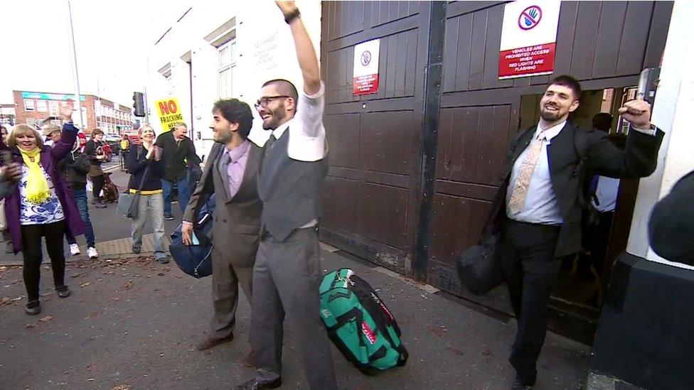 Rich Loizou (L), Simon-Blevins and Richard Roberts leaving HMP Preston