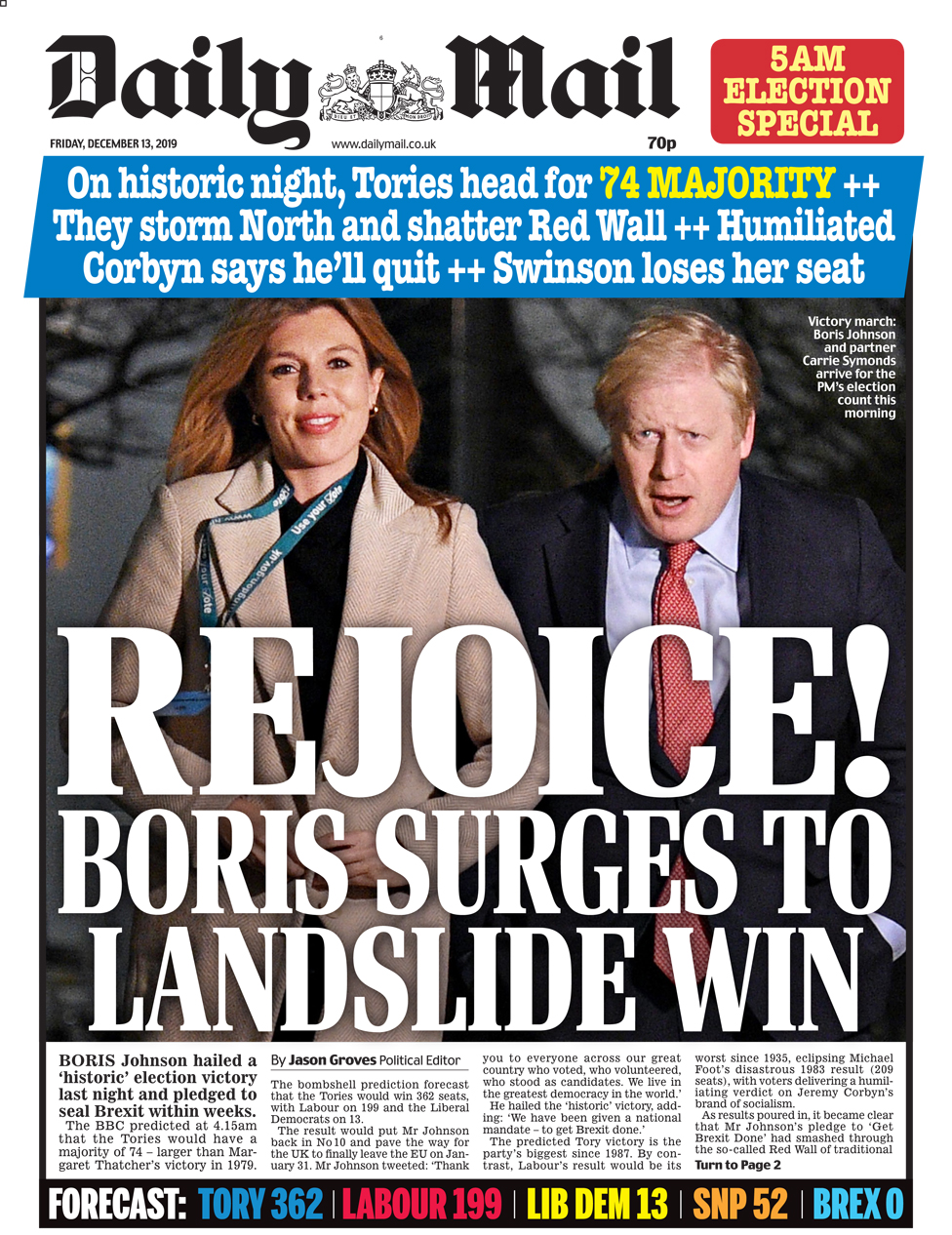 Friday's Daily Mail front page (late edition)