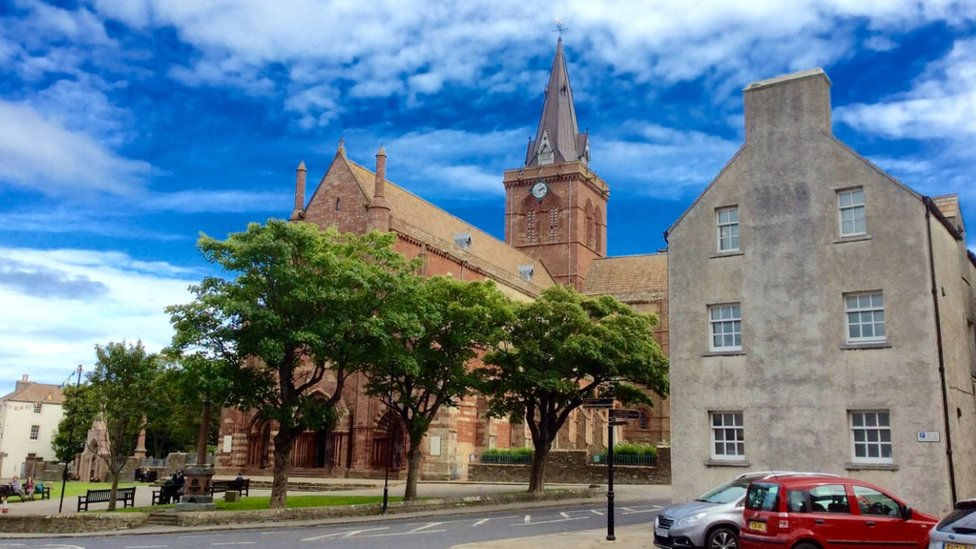 Kirkwall Cathedral in Kirkwall - the main town in Orkney