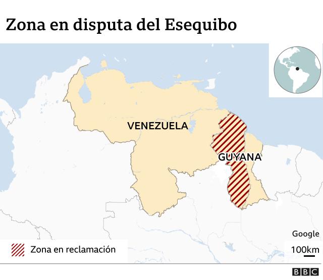 Mapa de Venezuela y su zona en reclamación.