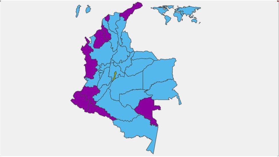 Mapa de votaciones de Colombia