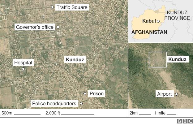 Map showing Kunduz