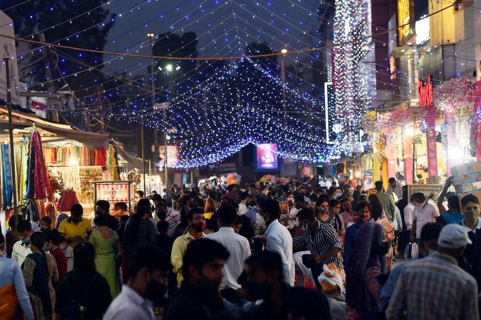 Huge crowd seen at Lajpat Nagar central market ahead of Diwali festival, on November 10, 2020 in New Delhi, India.